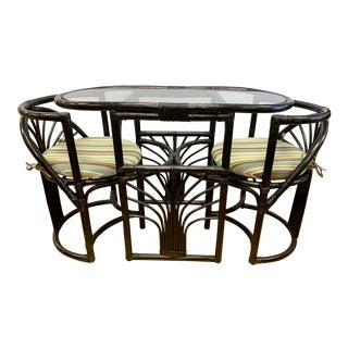 Vintage Black Rattan Bamboo Nesting Table, 2 Chairs Bistro Set For Sale
