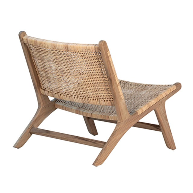 Contemporary Natural Teak & Wicker Easy Chair For Sale - Image 3 of 6