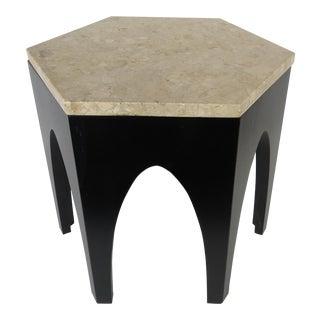 1950s Mid-Century Modern Harvey Probber Travertine Hexagonal End Table For Sale