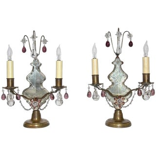 1920s French Louis XV Style Bronze and Crystal Girandoles Mantle Lamps - a Pair