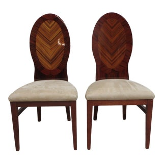 Art Deco Style Rosewood Zebra-Wood Dining Room Side Chairs - a Pair For Sale