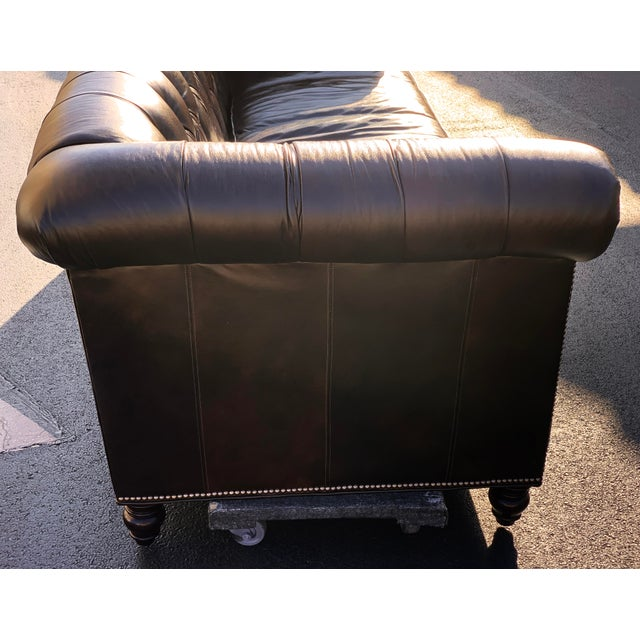 Leather Tommy Bahama Manchester Leather Sofa For Sale - Image 7 of 13