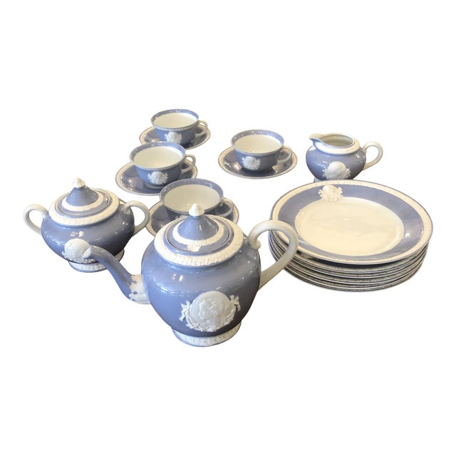 Vintage Musterschultz Cameo Tea Set in Powder Blue and White -Set of 17 For Sale