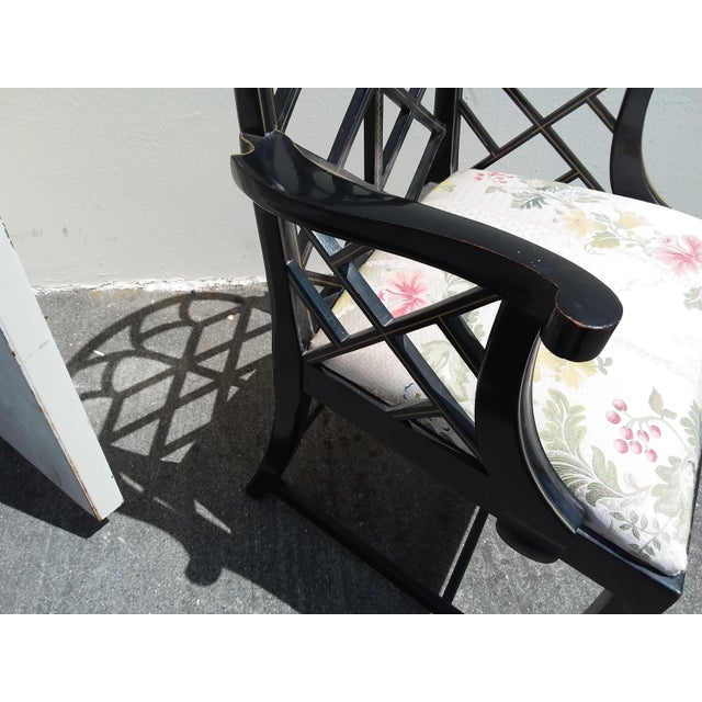 Campaign Lattice Work Back Black Arm Chairs - a Pair For Sale - Image 3 of 11