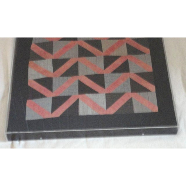 Rustic 1930s Amish Wool Doll Quilt in Plexy Frame in a Zig Zag Pattern For Sale - Image 3 of 5