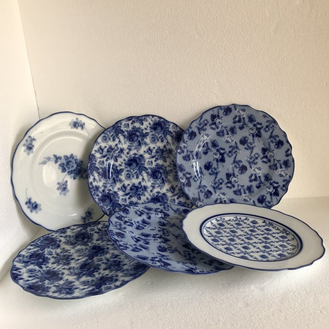 Cottage Harry & David Blue and White Rose Dishes - Set of Six For Sale - Image 3 of 10