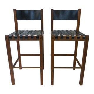 John Kapel for Glenn of California Rosewood & Leather Bar Stools - A Pair