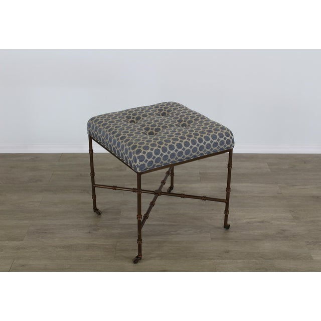 1970s Pair of Mid-Century Metal Benches With Blue Cushions Tops For Sale - Image 5 of 8