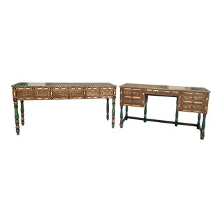 Hand Painted Desk and Credenza - Set of 2 For Sale