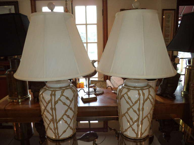 Hollywood Regency Chinoiserie Faux Bamboo Lamps   A Pair   Image 10 Of 10