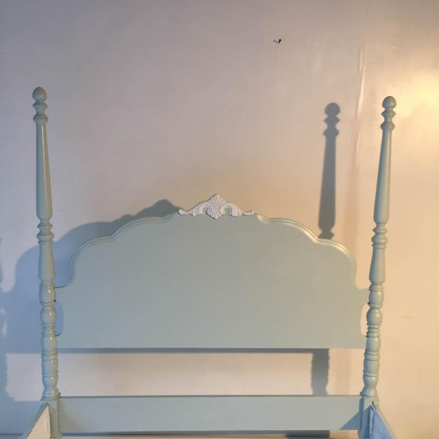 Cottage Country Style Antique Double Size White Bed For Sale - Image 4 of 9