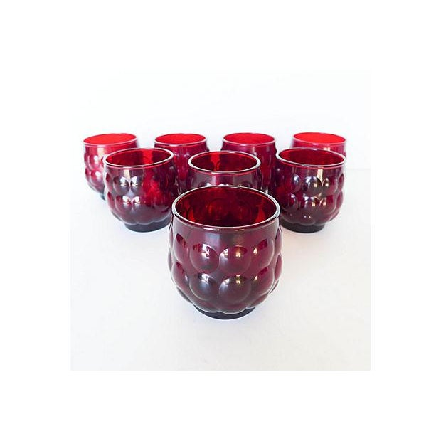 Mid-Century Ruby Red Glasses - Set of 8 - Image 3 of 8