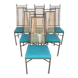 Image of Vintage Parzinger Style Iron Brass Cane Dining Chairs- Set of 6 For Sale