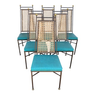 Vintage Parzinger Style Iron Brass Cane Dining Chairs- Set of 6 For Sale
