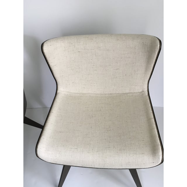 2010s Mid-Century Style Wood Wrapped Accent Chairs- a Pair For Sale - Image 5 of 13
