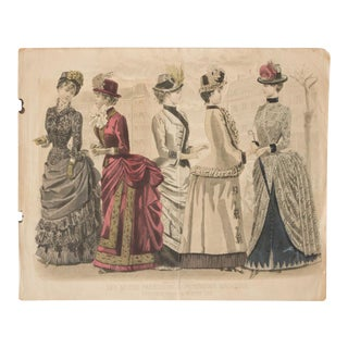 Antique High-Society Dressed Fashion Print, 1880s For Sale