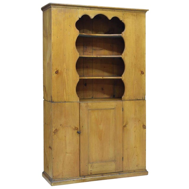 19th Century Rustic Colonial Pine Pewter Cupboard For Sale