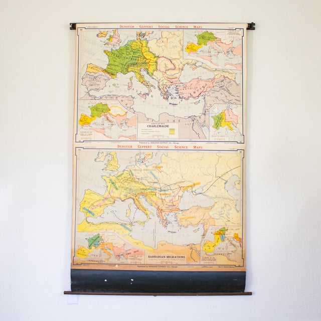 Vintage Pull Down Map of Europe | 1940s Industrial Wall Art | Chairish