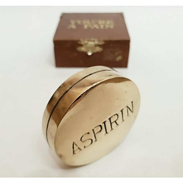 1970s Vintage Brass Aspirin Pill, You're a Pain Wood Box For Sale In Chicago - Image 6 of 6