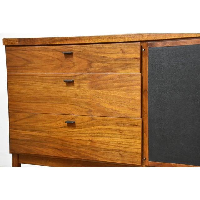 Walnut and Black Vinyl Dresser For Sale In Boston - Image 6 of 11