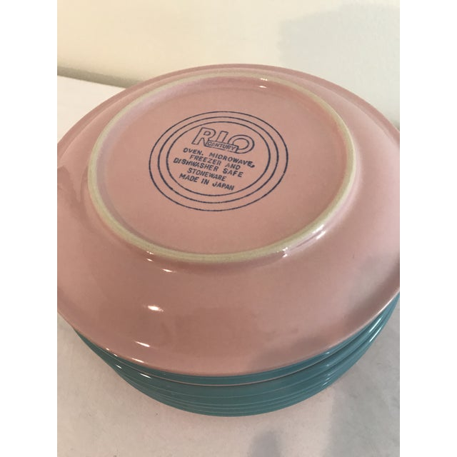 Mid 20th Century Century Stoneware Rio Pink & Turquoise Salad Plate - Set of 6 For Sale - Image 5 of 6