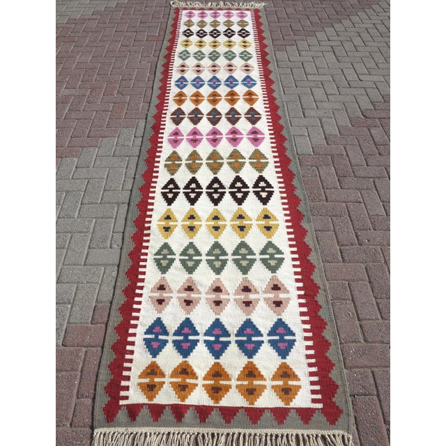 "Anatolian Turkish Kilim Runner-3'1'x13"" For Sale - Image 11 of 13"