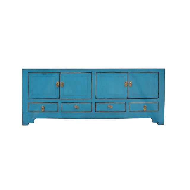 Chinese Distressed Blue Low Tv Console Table Cabinet For Sale - Image 9 of 9