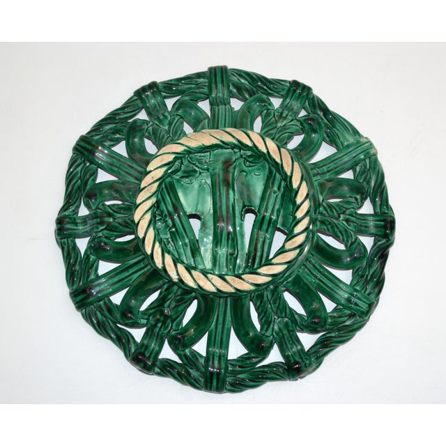 Vallauris France Glazed Woven Ceramic Basket Emerald Green Bambi 1955, Pottery For Sale - Image 10 of 13