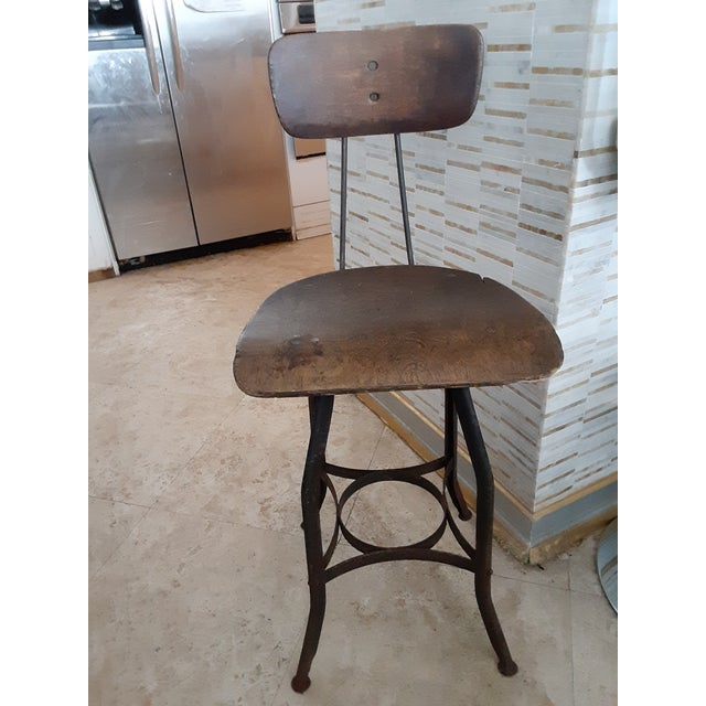 19th Century Vintage French Drafting Wood and Iron High Stool For Sale - Image 9 of 9