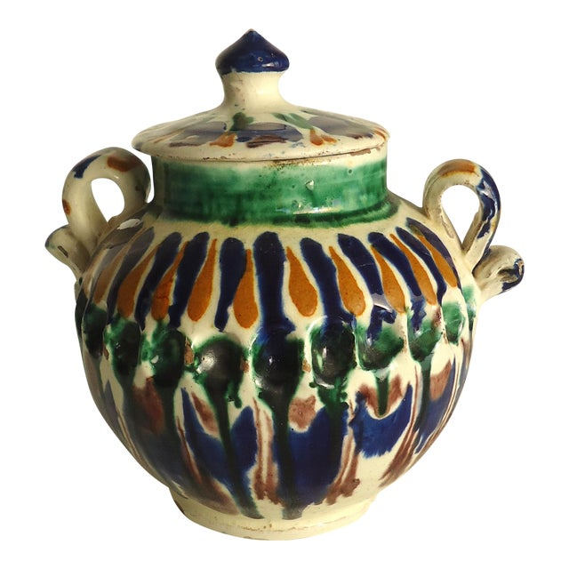 Rustic Folk Pottery Sugar Jar - Image 1 of 6