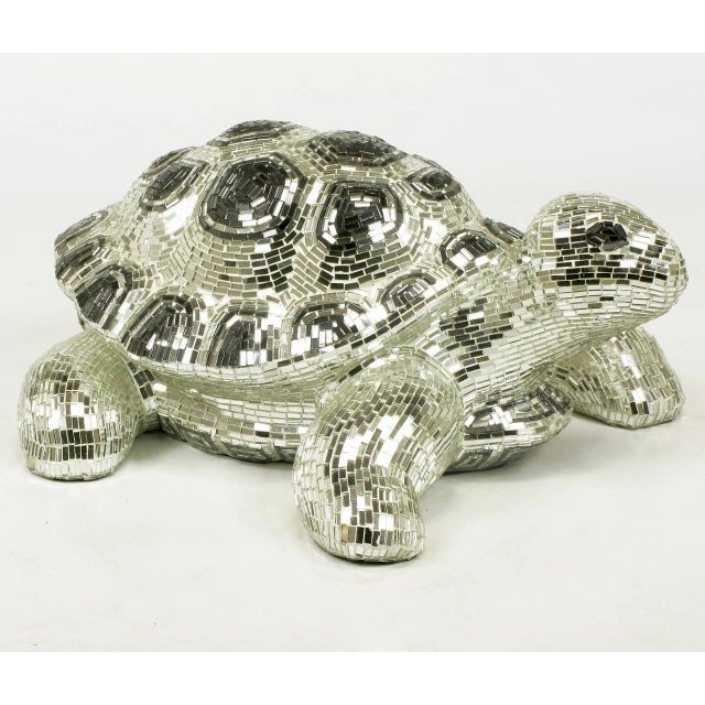 Lifesize Tortoise Sculpture Clad in Tessellated Mirror - Image 4 of 10