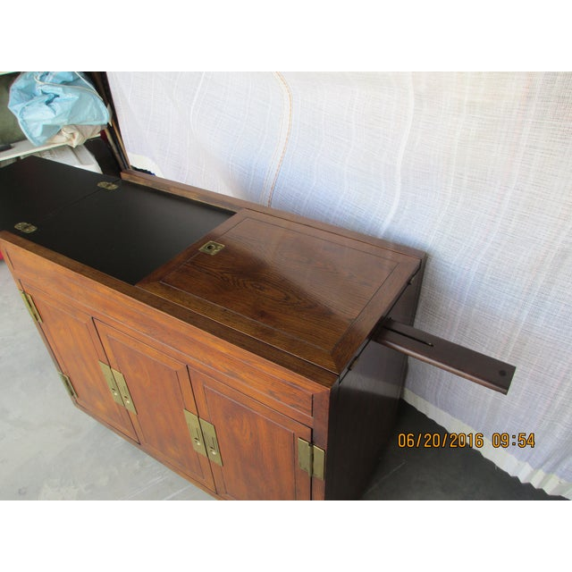 Brown Henredon Campaign Buffet Server For Sale - Image 8 of 8