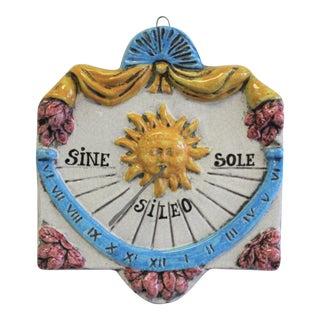 Vintage Italian Hand-Painted Ceramic Sun Dial Wall Art For Sale