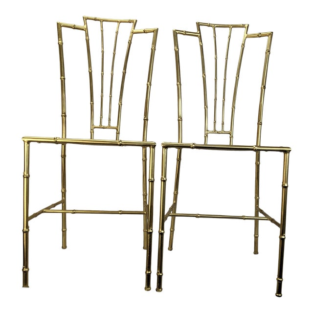 1950s Gilt Wrought Iron Faux Bamboo Chiavari Style Chairs - a Pair For Sale