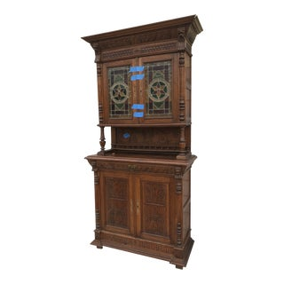 Antique Traditional Carved Oak and Stain Glass Cabinet Cupboard For Sale