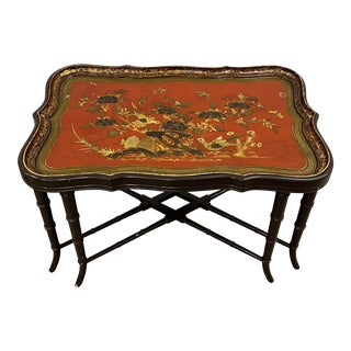19th Century Papier Mache English Chinoiserie Tray Table For Sale