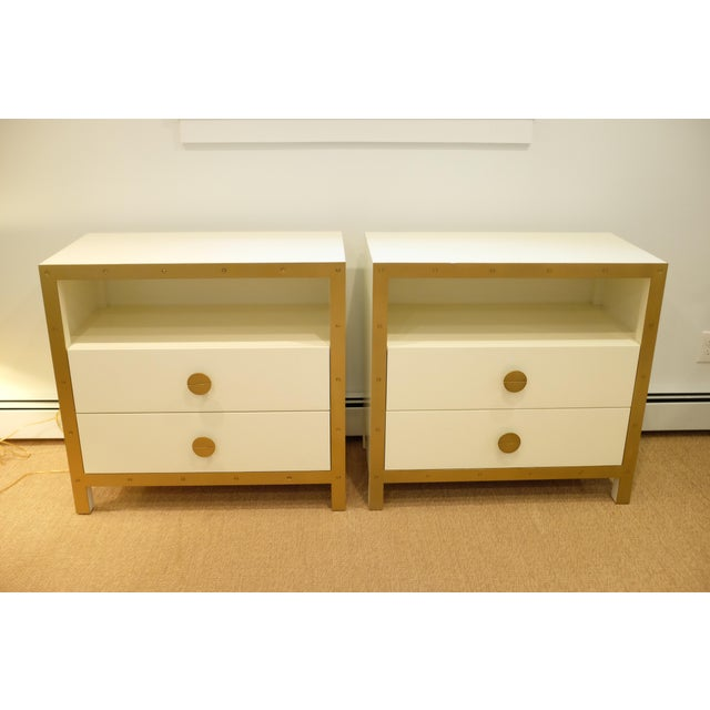 Lillian August Cream & Gold Chests/Nightstands - a Pair For Sale - Image 10 of 12
