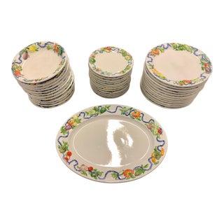 Vintage Italian Fruit & Vegetable Dinnerware With Serving Platter - Set of 12 For Sale