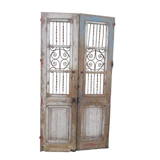 Antique French Iron Grill Door Rustic Farmhouse Natural Doors - a Pair For Sale - Image 4 of 11