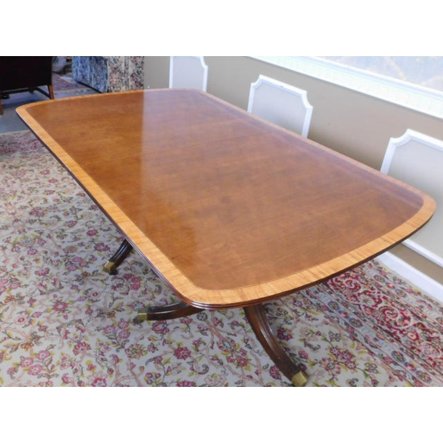 Fine Banded Mahogany Henredon Fine Furniture Double Pedestal Dining Room  Table w/ 3 Leaves