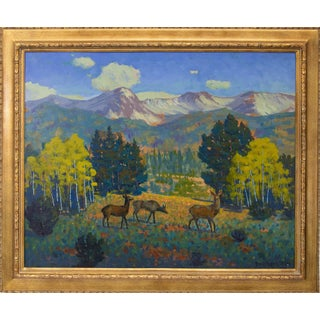 """1960s Vintage Harold Skene """"Threesome (Yellowstone)"""" Oil Painting For Sale"""