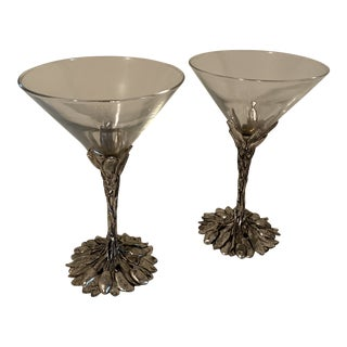 "Arthur Court ""Grape"" Martini Glasses - a Pair For Sale"