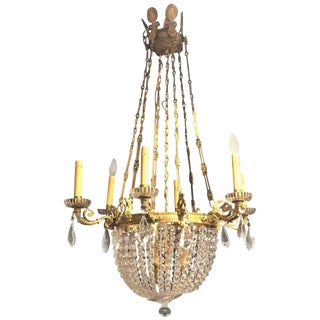 Louis XVI Style Basket Dore Bronze and Crystal Chandelier For Sale