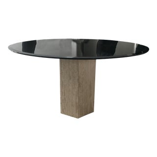 Vintage Smoked Glass, Tavertine and Brass Dining Table by Ello For Sale