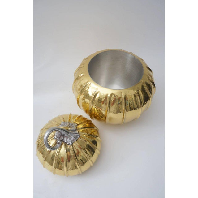 Metal Melon-Form Brass and Silver Plate Ice Bucket For Sale - Image 7 of 8