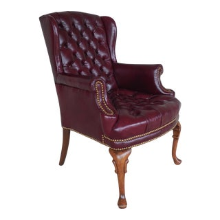 FLEXSTEEL Chippendale Style Turfted Leather Wing Back Arm Chair For Sale