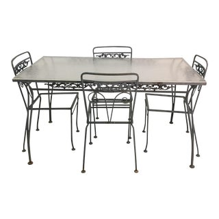 Woodard Style Wrought Iron Patio Set For Sale