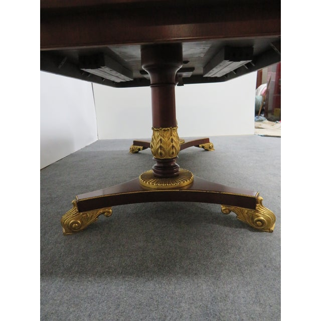 Regency Baker Furniture Company Banded Mahogany Dining Table For Sale - Image 11 of 12