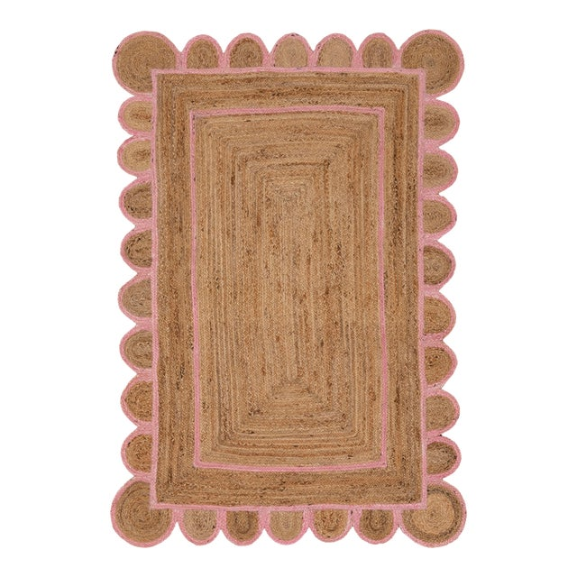 Scallop Jute Light PInk Hand Made Rug - 9'x12' For Sale