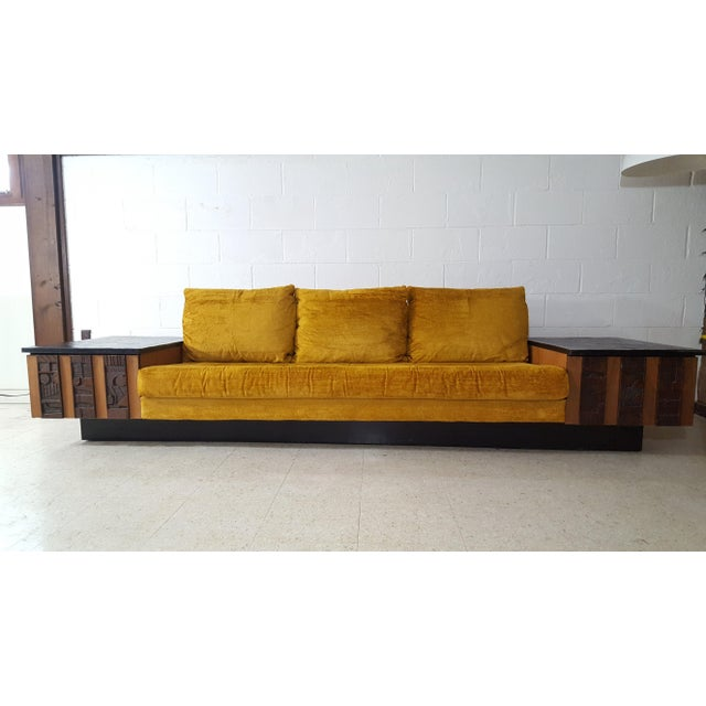 1970s Brutalist Lane Furniture 'Pueblo' Sofa W/ Attached End Tables For Sale - Image 13 of 13